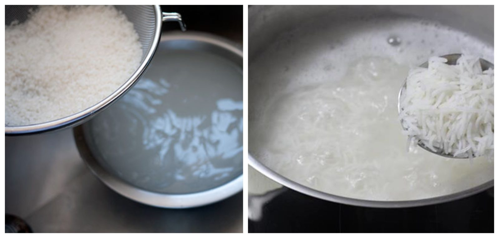 washing and boiling rice for sushi
