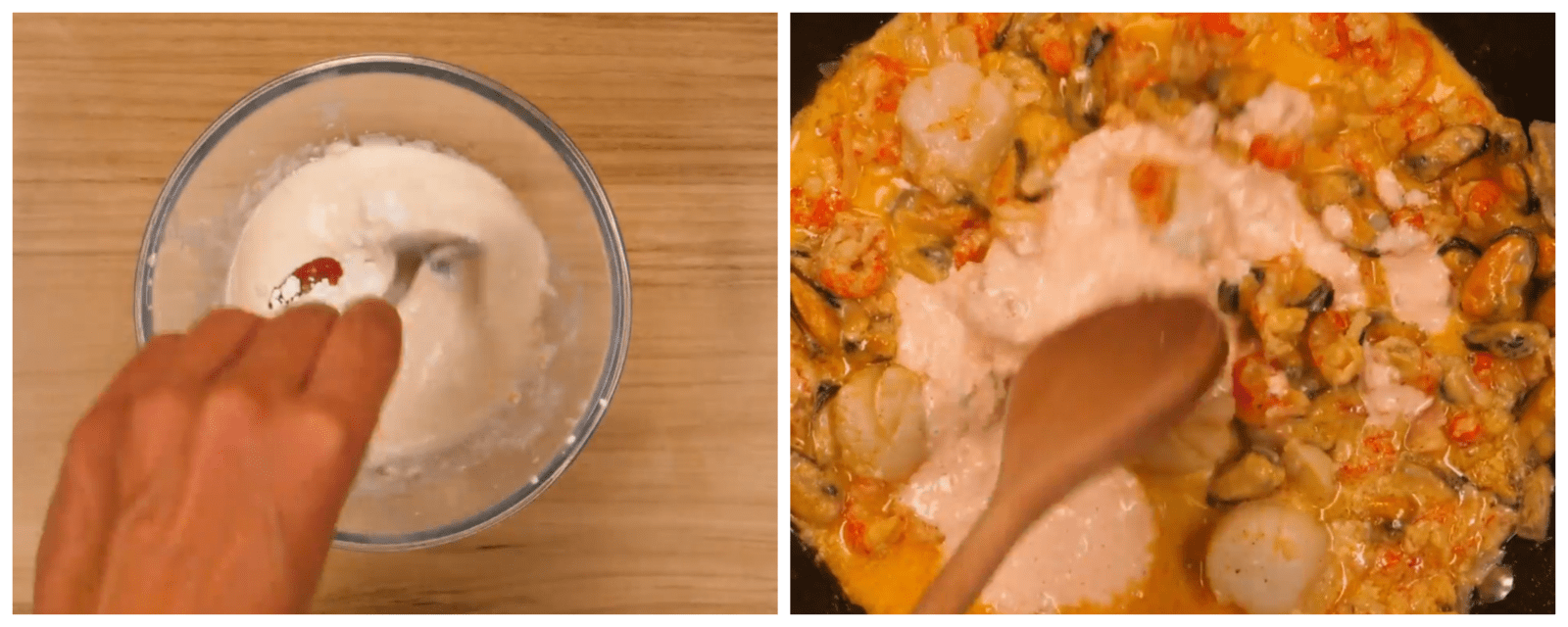 cooking seafood with cream