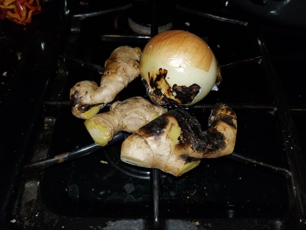 Grill the ginger and onion