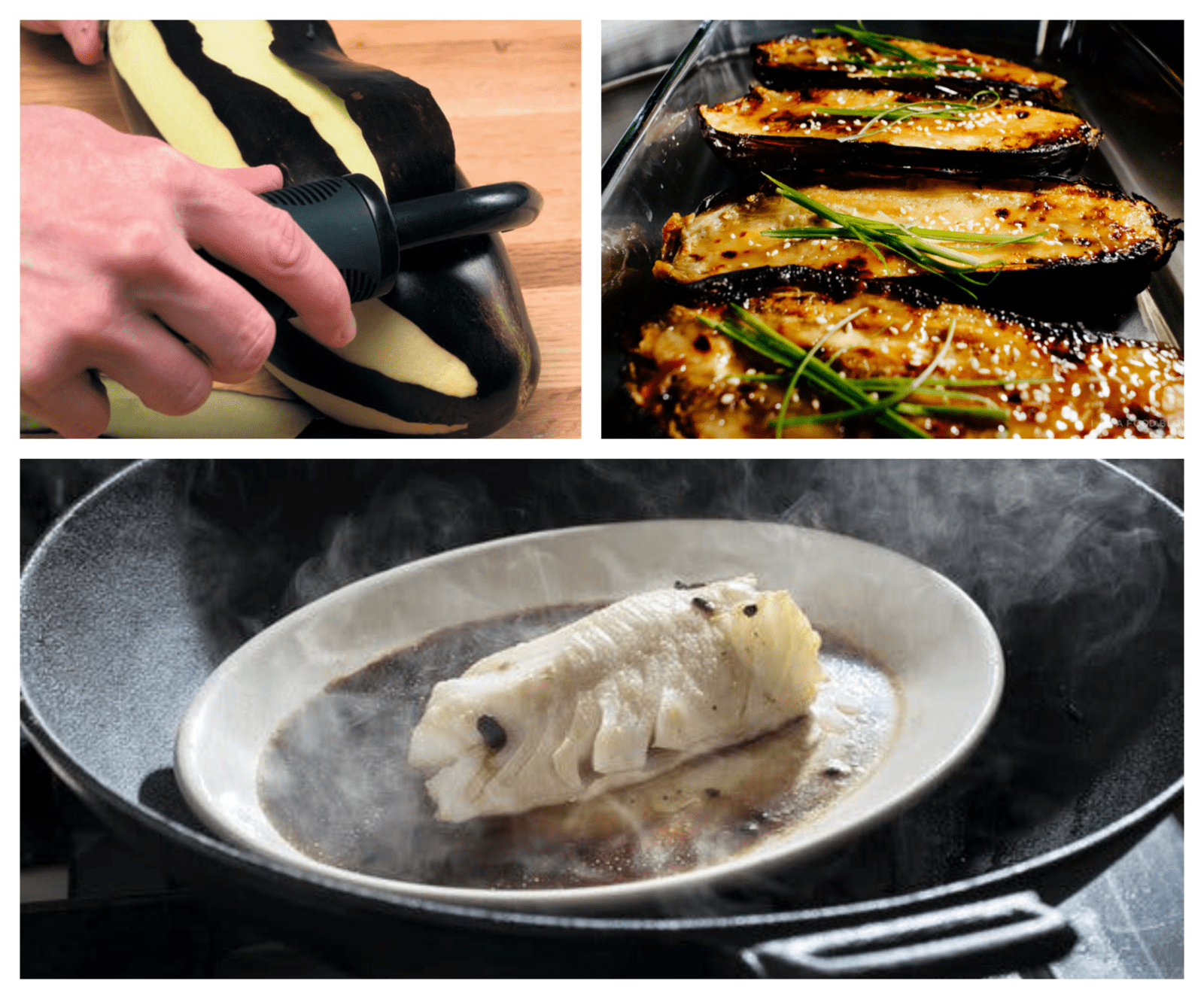 baking eggplants and steaming fish