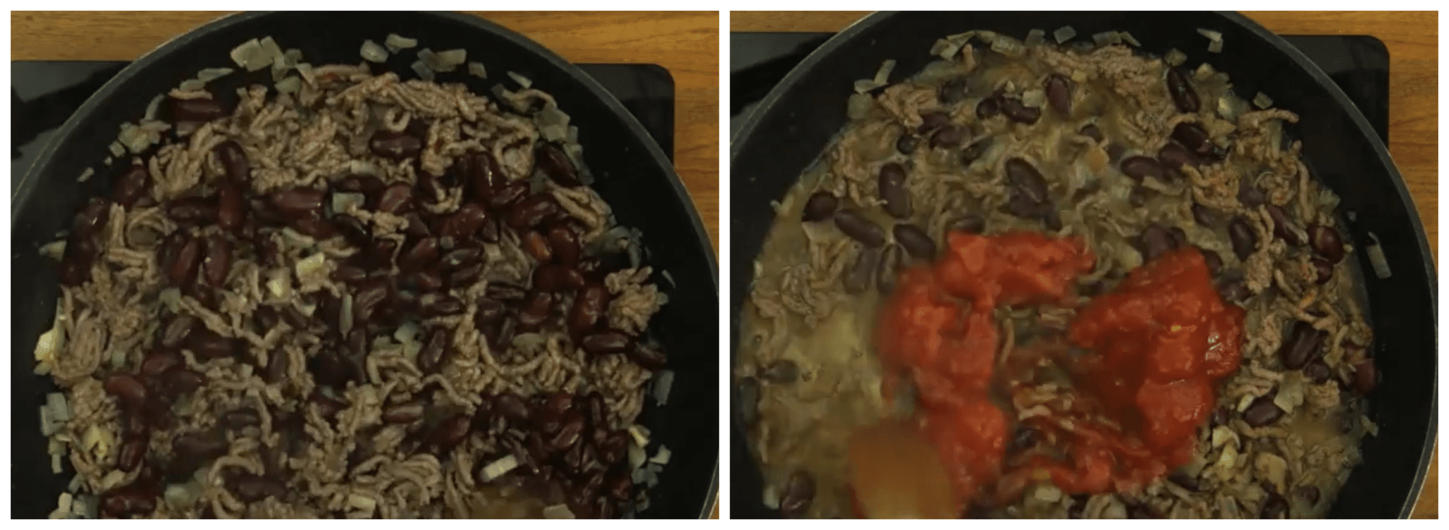 adding spices and red beans