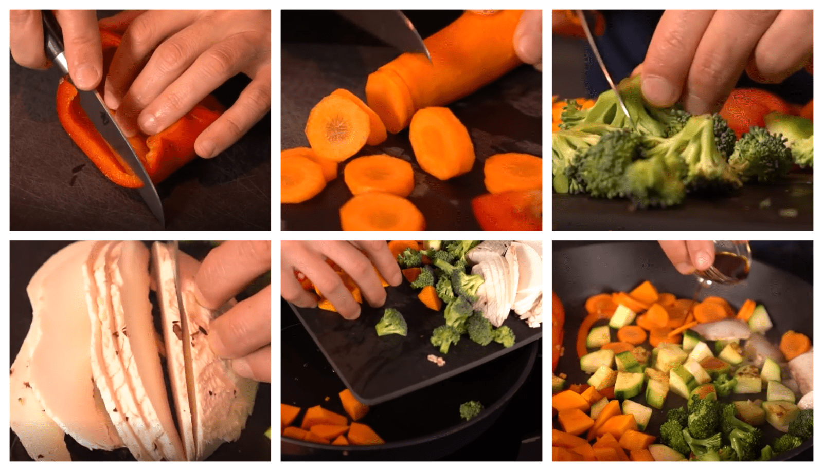 Cleaning, and cutting vegetables