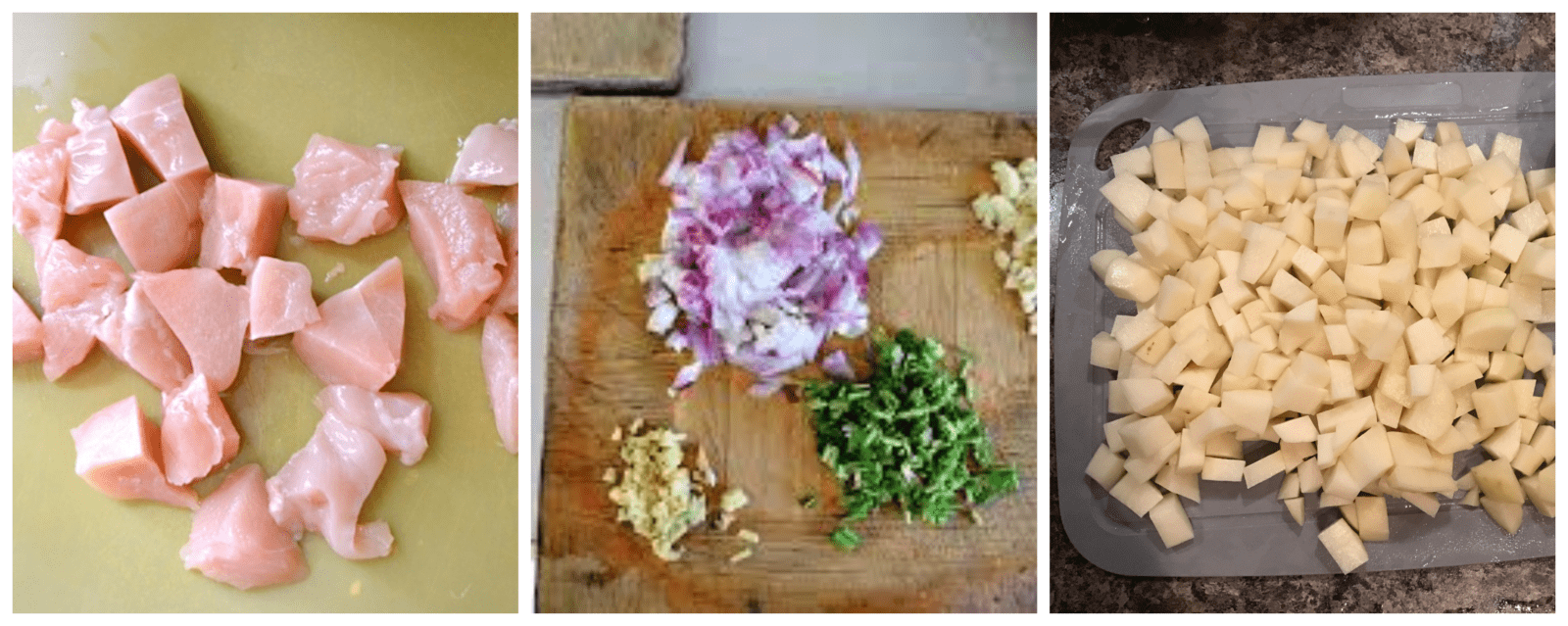 cleaning and chopping vegetables and chicken