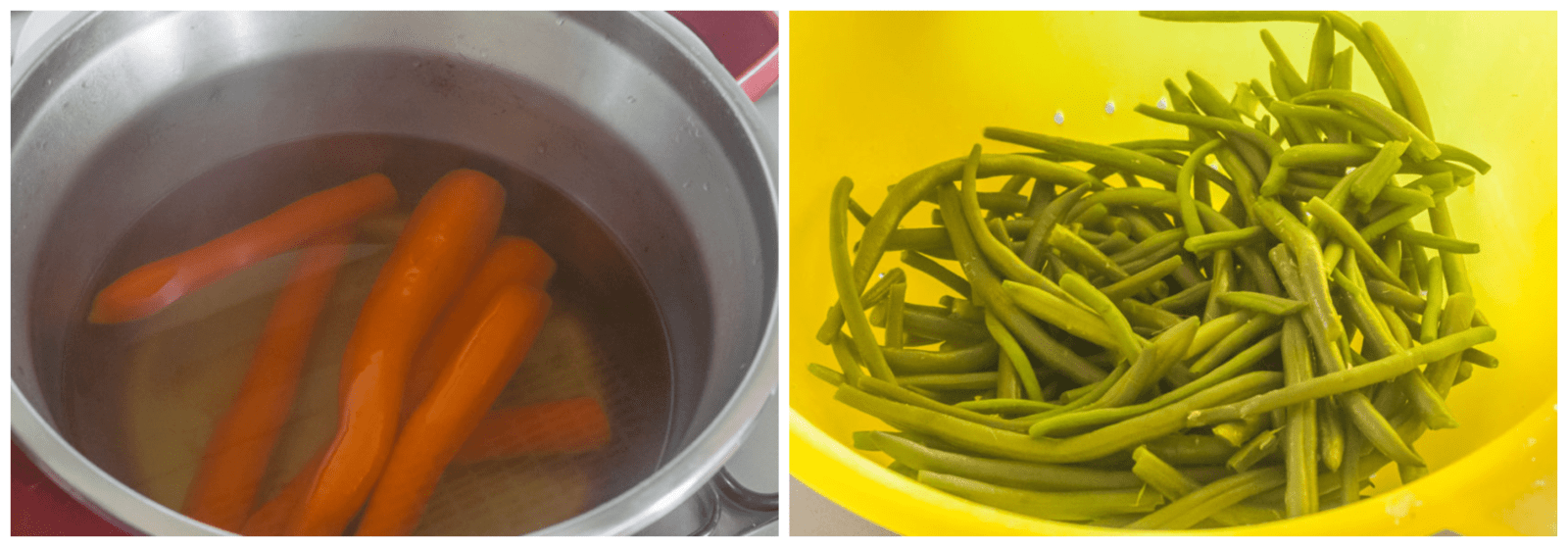 washing and cleaning carrots and beans