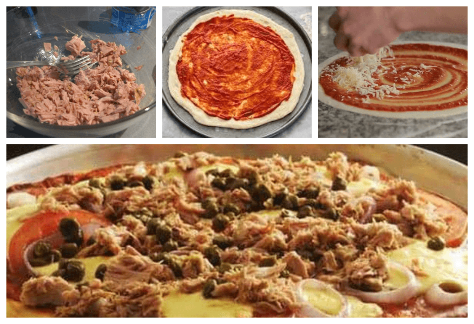 Spreading tomato sauce , cheese and tuna on the pizza before baking