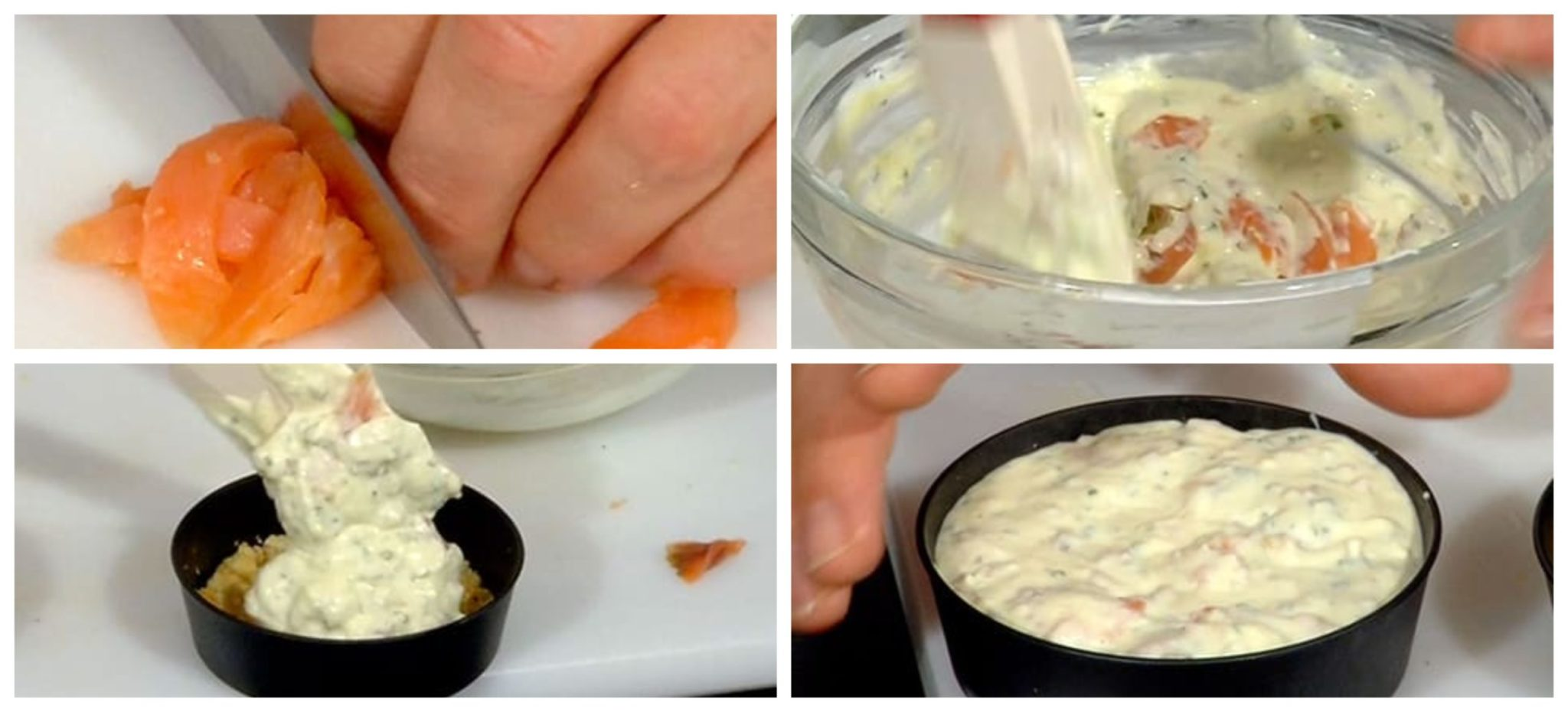 Filling the molds with the cheese mixture