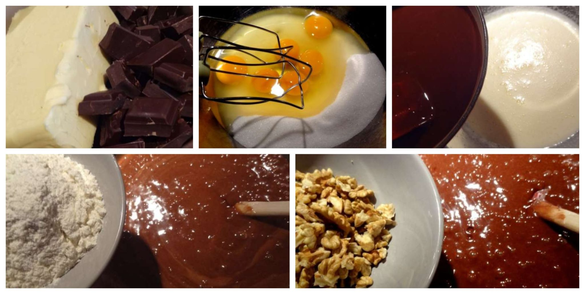 mixing chocolate nuts and cream