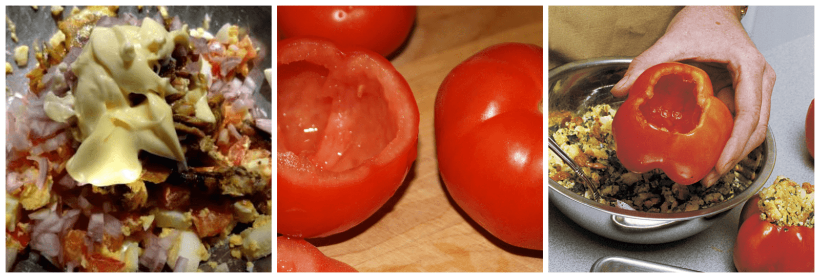 Stuffing tomatoes with the mixture
