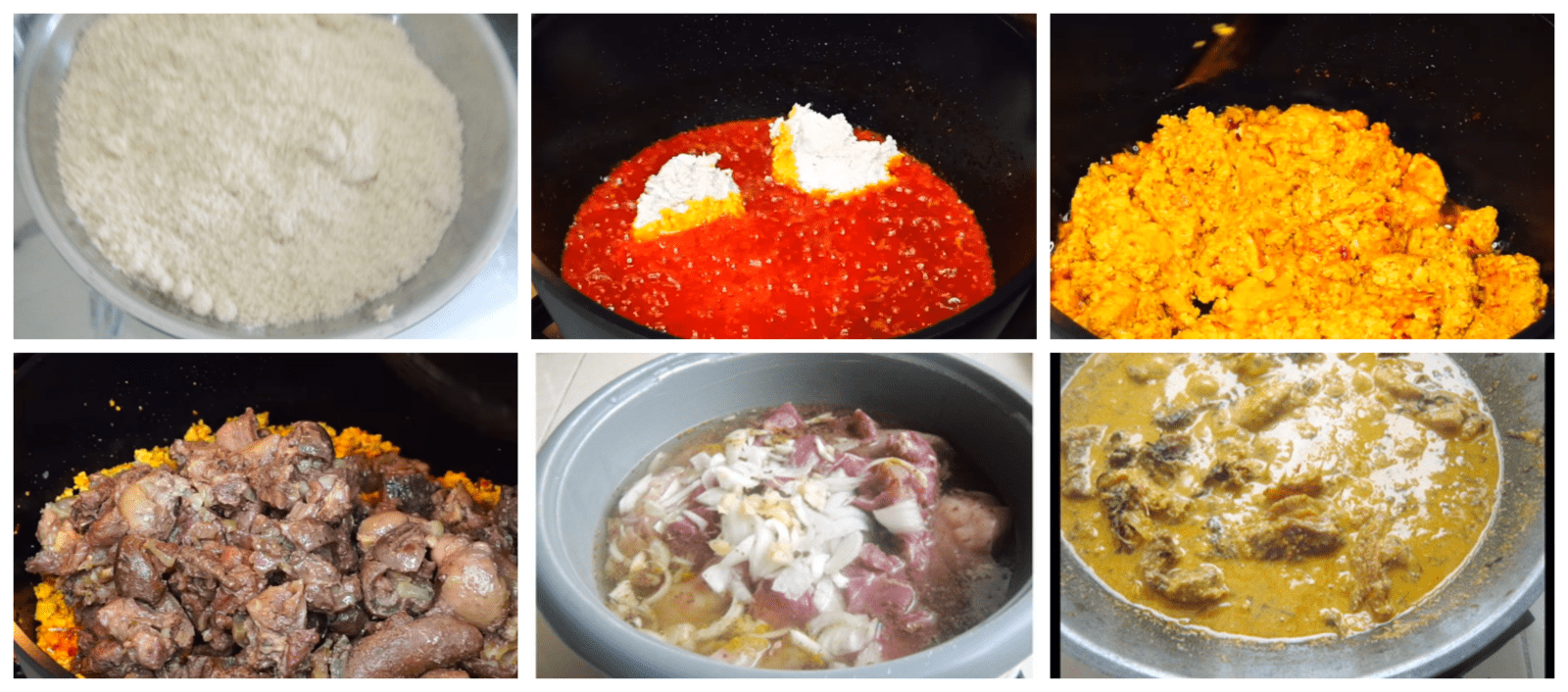 cooking all condiments together to create the egusi soup