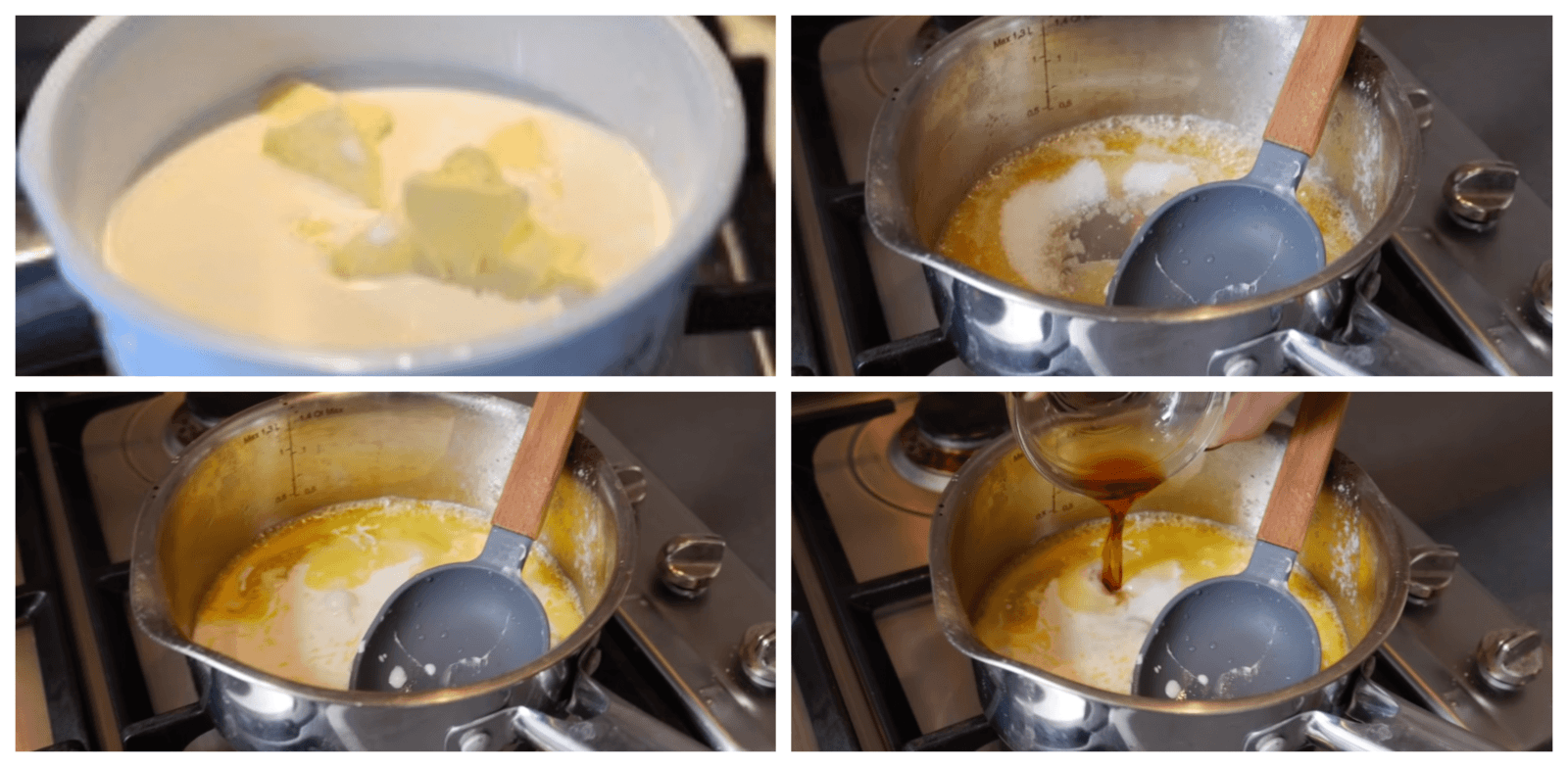 making the sauce to decorate the cake