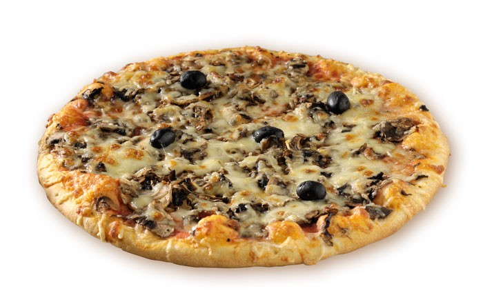 Mushrooms Pizza with spinach