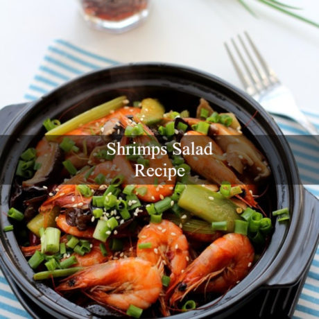 Shrimps Salad with cucumber and celery